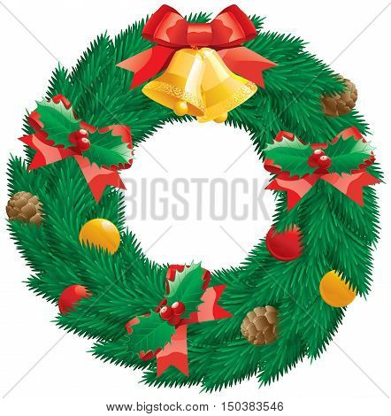 Christmas  wreath. Vector christmas decoration -  fir  wreath with holly leaves and berries, pine cones, baubles, gold hand bells isolated on white background.
