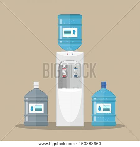 Gray white plastic water cooler with blue full and empty bottles. vector illustration in flat design on brown background