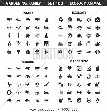 Ecology, family set 100 black simple icons. Gardening, animal icon design for web and mobile device.