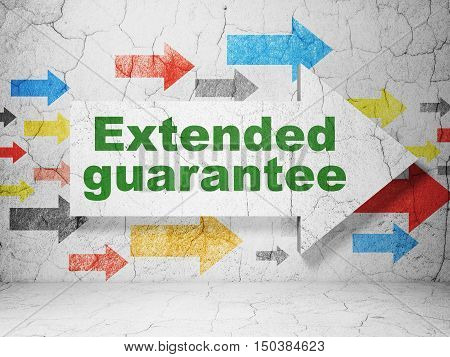Insurance concept:  arrow with Extended Guarantee on grunge textured concrete wall background, 3D rendering