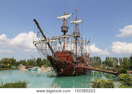 Pirate Ship In Sazova Science, Art And Cultural Park In Eskisehir City