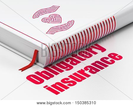 Insurance concept: closed book with Red Heart And Palm icon and text Obligatory Insurance on floor, white background, 3D rendering
