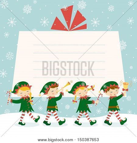 Four Christmas elves are carrying a gift