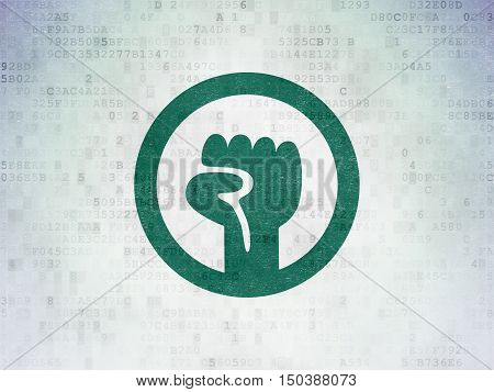 Politics concept: Painted green Uprising icon on Digital Data Paper background