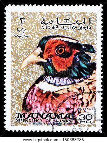 MANAMA - CIRCA 1970 : Cancelled postage stamp printed by Manama, that shows Common Pheasant.