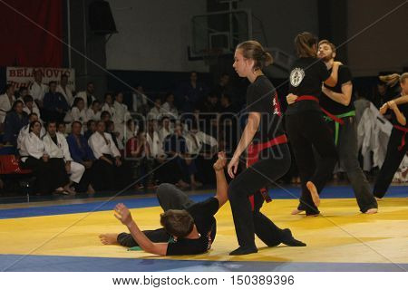 BELGRADE,SERBIA - SEPTEMBER 24, 2016: Girls and boys demonstrate actions at martial arts evening