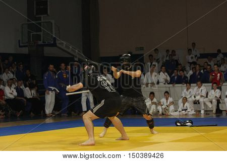 BELGRADE ,SERBIA - SEPTEMBER 24 .2016: Fighters demonstrate actions at martial arts evening