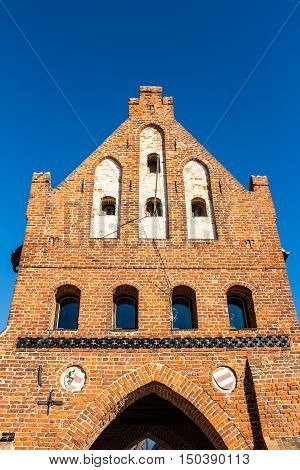 Historic City Gate At The Old Harbor In Wismar