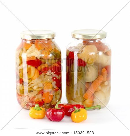 picture of a Canning, Jar, Food.vegetableson white background