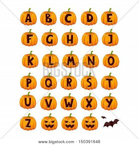 Spooky halloween font alphabet magical pumpkin set. Halloween font alphabet typography abc set spooky vegetable. Horror art graphic isolated grunge typography halloween font alphabet set.