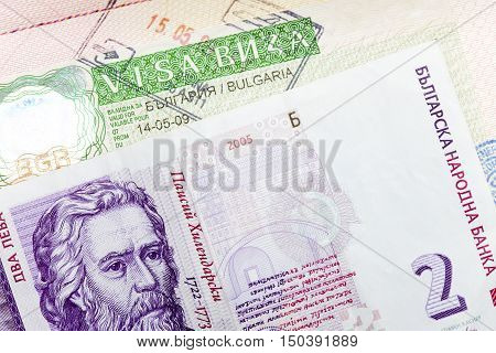 visa of Bulgaria on the page of the passport and Bulgarian lev