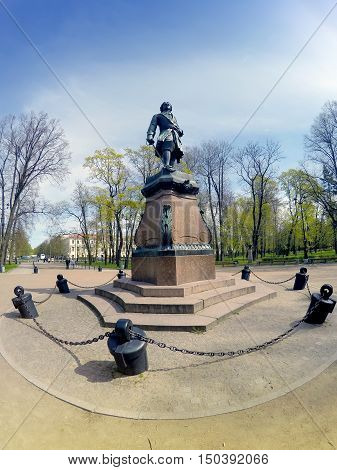 bronze Monument to Peter I 19th century in Kronstadt St. Petersburg Russia. An inscription - to Peter I - the founder of Kronstadt