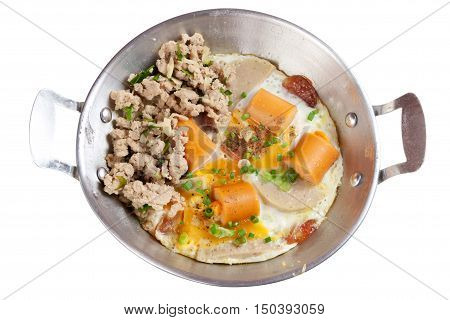 Indochina pan-fried egg with pork and sausage toppings on white background. Isolated on white with work paths.
