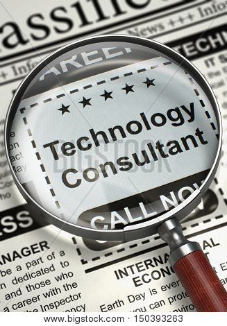 Illustration of Jobs of Technology Consultant in Newspaper with Magnifying Glass. Technology Consultant. Newspaper with the Jobs Section Vacancy. Job Seeking Concept. Blurred Image. 3D Render.