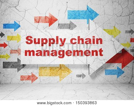 Advertising concept:  arrow with Supply Chain Management on grunge textured concrete wall background, 3D rendering