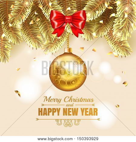 Elegant Christmas Gold Illustration With Christmass Balls. Elegant Vector Background With Fir-tree B