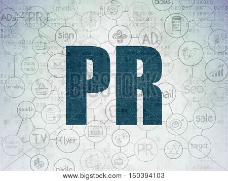 Marketing concept: Painted blue text PR on Digital Data Paper background with  Scheme Of Hand Drawn Marketing Icons