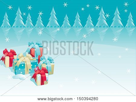Christmas presents. Vector of christmas presents - gift boxes with bow on winter background