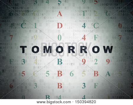 Time concept: Painted black text Tomorrow on Digital Data Paper background with Hexadecimal Code