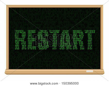 The programming code on education blackboard and green message restart, easy to edit