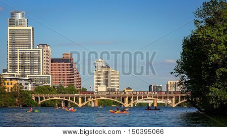AUSTIN, TEXAS - APRIL 9: Kayakers on the Colorado River in Austin, Texas on April 9th, 2016.