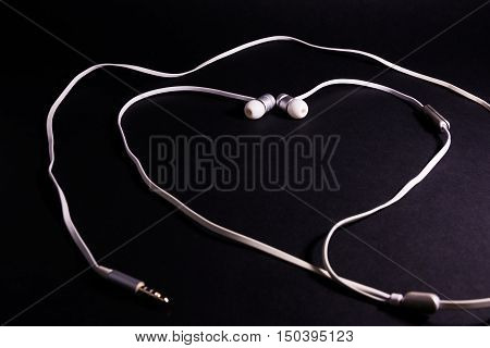 Headphones Earphones White Heart Shape Symbol Metaphor Love Music Black Background Accessory Wire