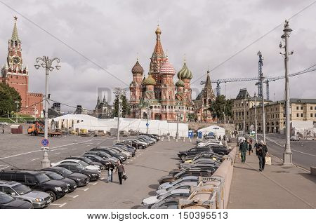Moscow Russia -September 08 2016: Area Vasilevsky descent. By area moving the pedestrians and cars stand