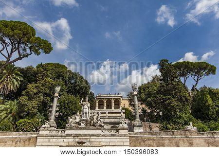 Fontana Della Dea Roma In Piazza Del Popolo In Rome