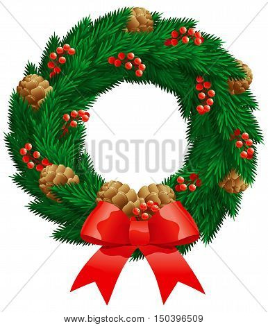 Christmas fir wreath. Vector christmas decoration - fir wreath with berries, cones isolated on white background.