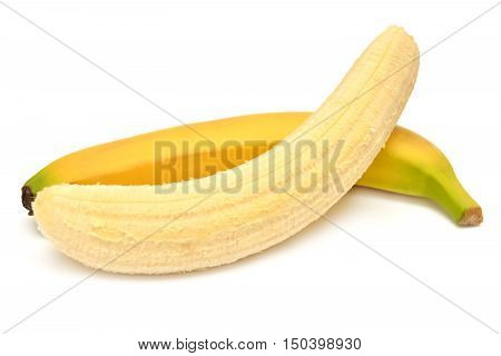 Two bananas isolated on white background one with the skin the other without. Flat lay top view