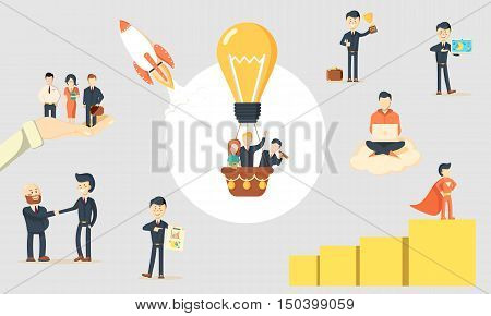 Flat startup concept with business people. Team creative activity vector illustration
