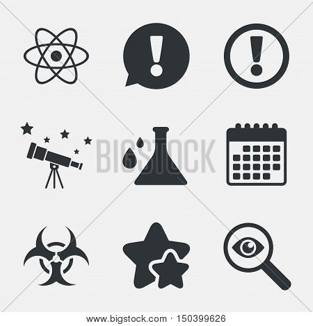 Attention and biohazard icons. Chemistry flask sign. Atom symbol. Attention, investigate and stars icons. Telescope and calendar signs. Vector