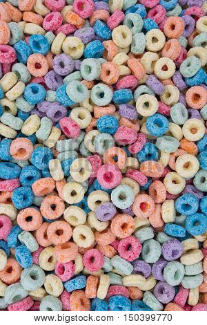 Colorful Kids Sugary Breakfast Cereal Background from top view