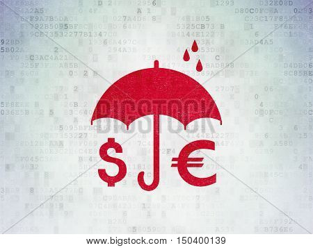 Safety concept: Painted red Money And Umbrella icon on Digital Data Paper background