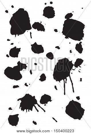 Grunge Ink Blots Brush Texture Isolated on White Background. Vector illustration