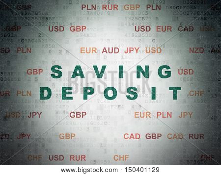 Currency concept: Painted green text Saving Deposit on Digital Data Paper background with Currency