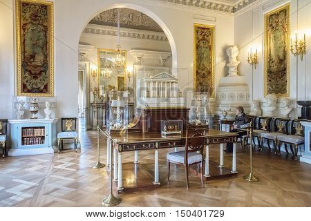 PAVLOVSK, SAINT PETERSBURG, RUSSIA - OCTOBER 01, 2016: Interior of the Pavlovsk palace, Russian Imperial residence built by Paul I, now it is a museum