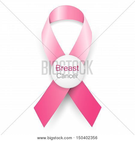 Breast cancer awareness month pink ribbon on background.