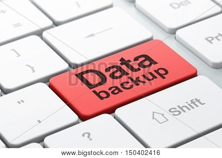 Information concept: computer keyboard with word Data Backup, selected focus on enter button background, 3D rendering