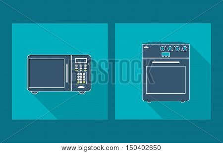 microwave oven with oven stove home electronic appliances image vector illustration
