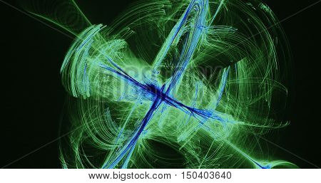 Abstract Pattern Of Green And Blue Lines Curves Particles On Black Background