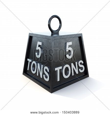 Five 5 tons weight isolated on white background. 3d rendering.