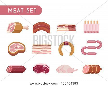 Set of flat color icons. Meat products: beef, lamb, pork, chicken, steaks salami sausage spare ribs