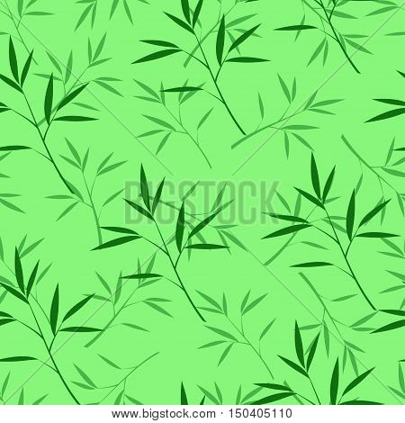 Vector seamless bamboo pattern in green and dark green colors
