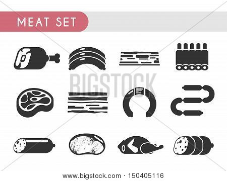 Set vector icons. Meat products: beef, lamb, pork, chicken steaks salami sausage spare ribs