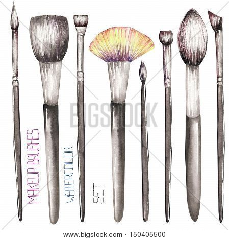 A set with the makeup brushes. All elements were hand-drawn in a watercolor on a white background.