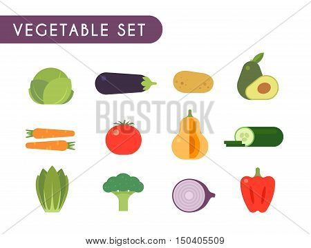 Set of flat color icons. Vegetables: cabbage, eggplant, potato, avocado, carrot tomato pumpkin cucumber lettuce eggplant onions peppers