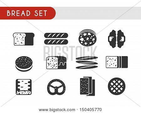 Set black vector icons. Bread: toast, baguette, pie, pita bread croissant pastry pretzel ciabatta
