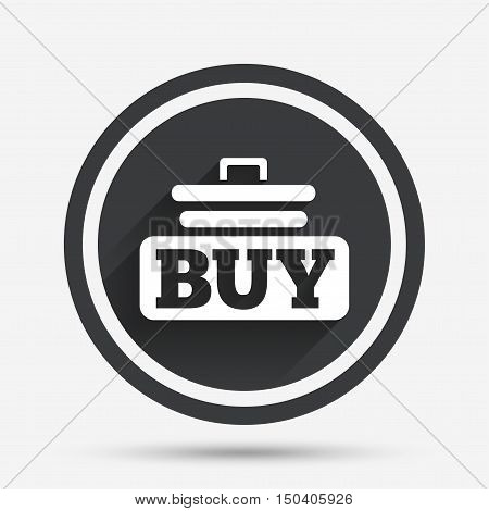Buy sign icon. Online buying cart button. Circle flat button with shadow and border. Vector