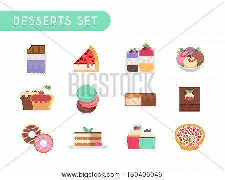 Set of flat color icons. Desserts: chocolate, cheesecake, ice cream, cupcake, muffin, pasta chocolate bar brownies donuts tiramisu tarte